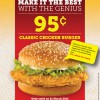 Texas Chicken 95 cents Chicken Burger promotion