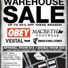 Obey Clothing, Macbeth Shoes & Vestal Watches Warehouse Sale