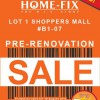 Home-Fix @ CCK Lot One Mall Pre-Renovation Sale, Up to 70% Discounts