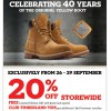 Timberland Celebrates 40 Years With 20% Off Storewide @ Tangs