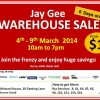 Jay Gee Warehouse Sale March 2014: Branded Fashion Apparels & Wearables From Just $1