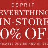 Esprit offers 50% discount on everything in store and online for one day