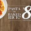 Pastamania Weekday $8 Pasta + Drink Promotion with free upsize