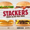 Burger King Stacker: Add extra patty layers to your burger for $1.50 each