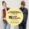 Topshop Topman All Things Festival Promotion, 15% Off Three Pieces Of Apparels