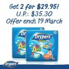 Drypers 2 x Wee Wee Dry Mega Packs Only $29.95 @ All FairPrice Outlets March 2014 Offer