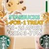 Starbucks 1-for-1 treat on Pop'zel Coffee or Coconut Strawberry Bliss Frappuccino returns again this week